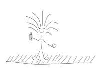 Bambino felice che tiene penna di legno Fotografia Stock