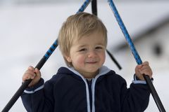 Bambino felice con i bastoni Fotografia Stock