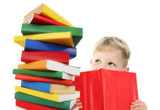Bambino felice con i libri Immagine Stock Libera da Diritti