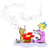 Bambino felice con il regalo del cucciolo Fotografia Stock