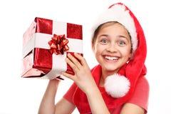 Bambino felice con il regalo di natale Fotografia Stock Libera da Diritti