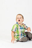 Bambino felice con le bolle Fotografia Stock