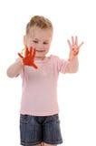Bambino felice con le mani verniciate Immagine Stock