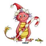 Bambino felice del drago con una grande caramella Fotografia Stock