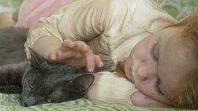 Bambino felice della ragazza con capelli biondi e le trecce che si trovano sul sofà che segna un gatto grigio archivi video
