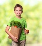 Bambino felice positivo in buona salute con il sacchetto della spesa di carta pieno di fre Immagini Stock Libere da Diritti