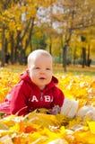Bambino in fogli di autunno Immagine Stock Libera da Diritti