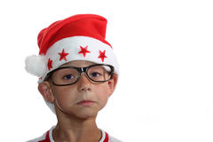 Bambino Funky di natale con i vetri Fotografia Stock Libera da Diritti