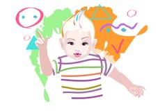 Bambino grafico astratto di arte dell'illustrazione Fotografia Stock