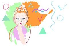 Bambino grafico astratto di arte dell'illustrazione Immagini Stock