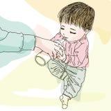Bambino grazioso con la bottiglia per il latte Fotografia Stock Libera da Diritti