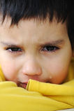 Bambino gridante, scena impressionabile fotografie stock libere da diritti