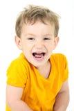 Bambino gridante sopra bianco Fotografia Stock