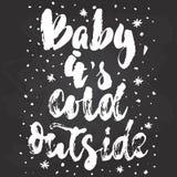 Bambino, il suo esterno freddo - vacanze invernali disegnato a mano del nuovo anno e di Natale segnante citazione con lettere iso royalty illustrazione gratis
