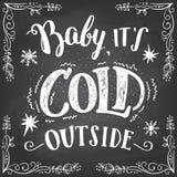 Bambino il suo segno esterno freddo dell'a mano iscrizione illustrazione di stock