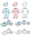 Bambino impostato - materia del pannolino, del playsuit & della toletta fotografia stock libera da diritti