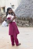 Bambino indiano bello pronto ad andare a scuola Fotografia Stock