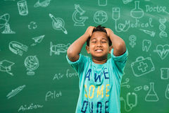 Bambino indiano nell'aula Fotografia Stock
