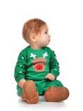 Bambino infantile della neonata del bambino che si siede esaminando l'angolo Fotografia Stock