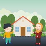Bambino islamico che mostra la loro casa pulita royalty illustrazione gratis