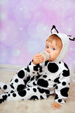 Bambino in latte alimentare del costume della mucca dalla bottiglia Fotografie Stock