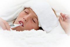 Bambino malato ammalato Fotografia Stock Libera da Diritti
