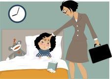 Bambino malato e la sua mamma illustrazione di stock