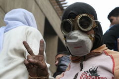 Bambino mascherato nella rivoluzione egiziana fotografia stock libera da diritti