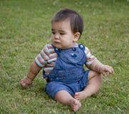 Bambino maschio in giardino Immagine Stock