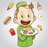 Bambino musulmano con alimenti industriali ed alimento sano illustrazione di stock