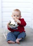 Bambino a natale Fotografia Stock