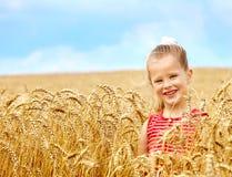 Bambino nel campo di frumento. Immagini Stock