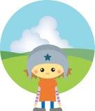 Bambino nel campo verde Fotografie Stock