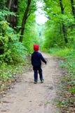 Bambino nel legno Fotografie Stock