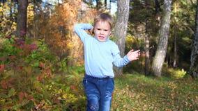 Bambino nel parco di autunno divertendosi gioco e ridendo, camminante nell'aria fresca Un bello posto scenico video d archivio