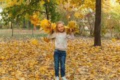 Bambino nella sosta di autunno fotografia stock libera da diritti