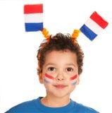 Bambino olandese come ventilatore di calcio fotografia stock libera da diritti