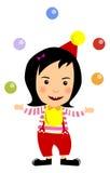 Bambino in palle da giocoliere del vestito del pagliaccio di carnevale Immagine Stock