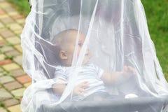 Bambino in passeggiatore coperto di rete protettiva durante la passeggiata Carrozzina con la copertura bianca della anti-zanzara  Immagini Stock