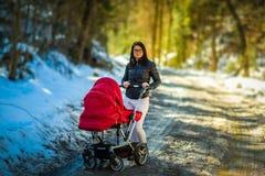 Bambino in passeggiatore rosso nella campagna della foresta con la madre Rilassi in natura nel giorno soleggiato dell'inverno fotografia stock libera da diritti