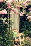 Bambino piccolo che mangia vicino al cespuglio di rose Immagini Stock Libere da Diritti