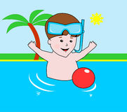 Bambino piccolo in stagno Illustrazione di Stock