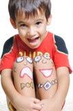 Bambino positivo con le arti Immagine Stock
