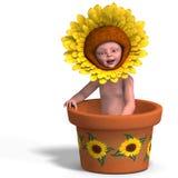 Bambino in POT di fiore Fotografia Stock Libera da Diritti