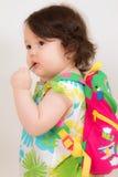 Bambino pronto per il banco Immagine Stock