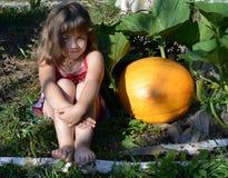 Bambino, ragazza, estate, giardino, giorno soleggiato, verdure arancio, giallo, zucca, il grande raccolto, crescita di pianta, fi immagine stock