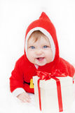 Bambino Santa Claus con il regalo di Natale Fotografie Stock Libere da Diritti