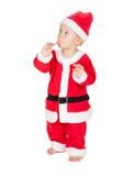 Bambino Santa con il bastoncino di zucchero Fotografia Stock