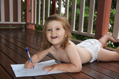 Bambino scribacchiante Fotografia Stock Libera da Diritti