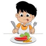 Bambino soddisfatto di bistecca Immagine Stock Libera da Diritti